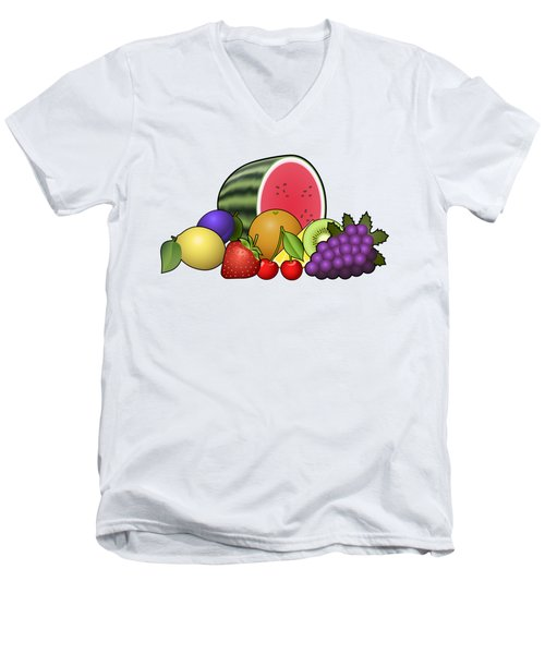 Fruits Heap Men's V-Neck T-Shirt by Miroslav Nemecek