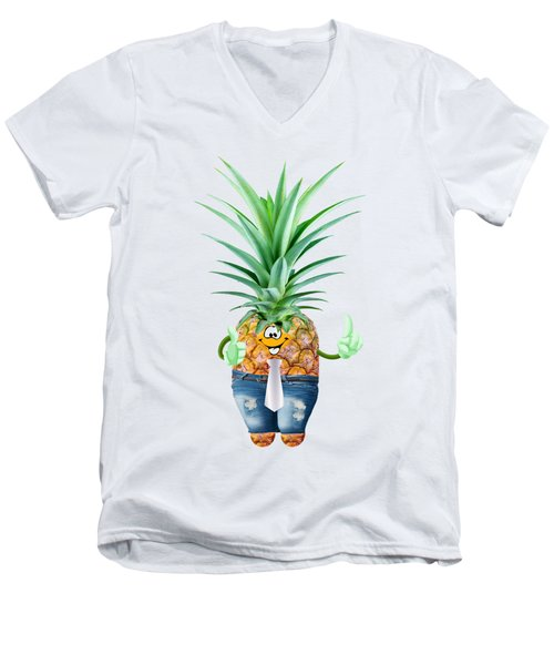 Fun Pineapple  Men's V-Neck T-Shirt by Elena Nikolaeva