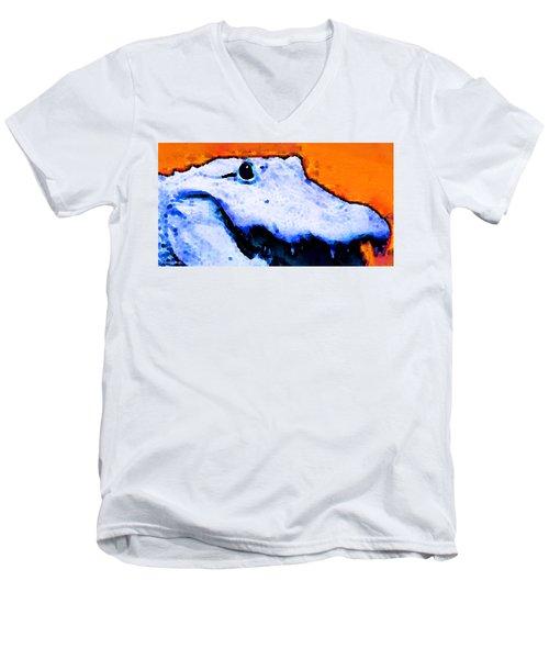 Gator Art - Swampy Men's V-Neck T-Shirt by Sharon Cummings