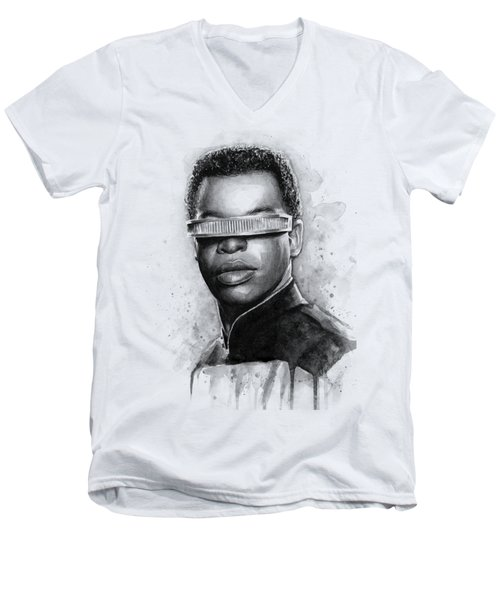Geordi La Forge - Star Trek Art Men's V-Neck T-Shirt by Olga Shvartsur