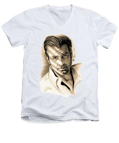George Clooney Men's V-Neck T-Shirt by Gitta Glaeser