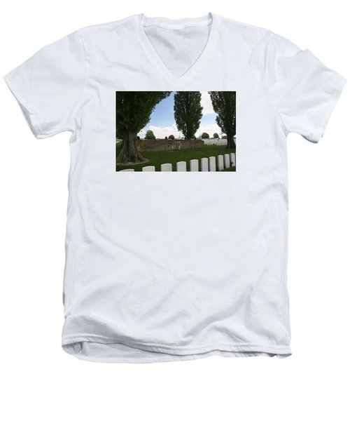 Men's V-Neck T-Shirt featuring the photograph German Bunker At Tyne Cot Cemetery by Travel Pics