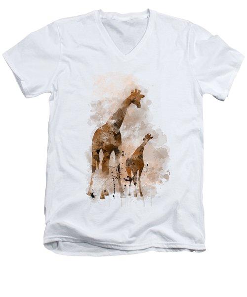 Giraffe And Baby Men's V-Neck T-Shirt by Marlene Watson