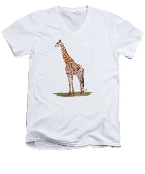 Giraffe Men's V-Neck T-Shirt by Angeles M Pomata
