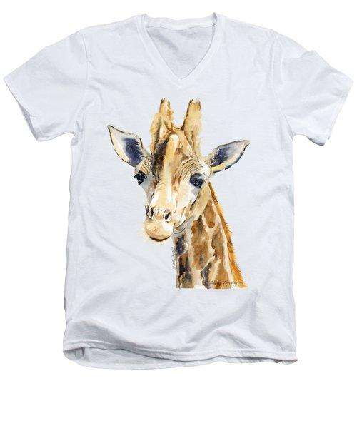 Giraffe Watercolor Men's V-Neck T-Shirt by Melly Terpening
