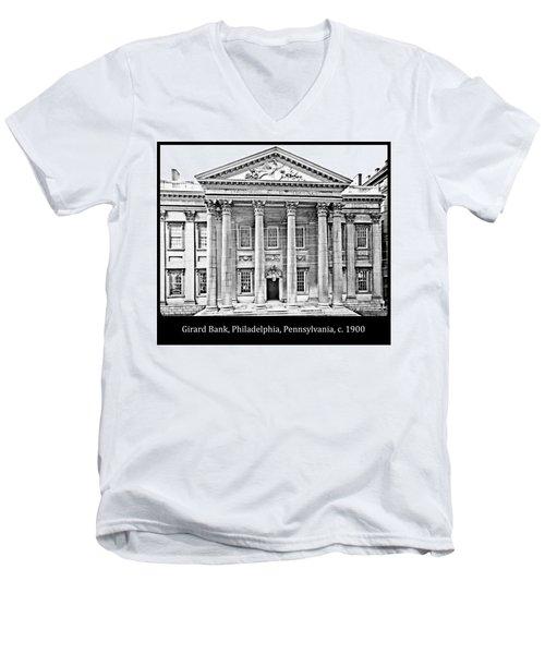 Men's V-Neck T-Shirt featuring the photograph Girard Bank Building Philadelphia C 1900 Vintage Photograph by A Gurmankin
