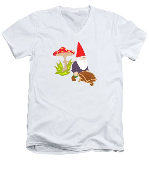 Gnome Garden Men's V-Neck T-Shirt by Priscilla Wolfe