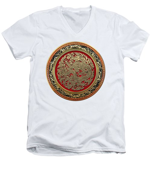 Golden Chinese Dragon White Leather  Men's V-Neck T-Shirt by Serge Averbukh