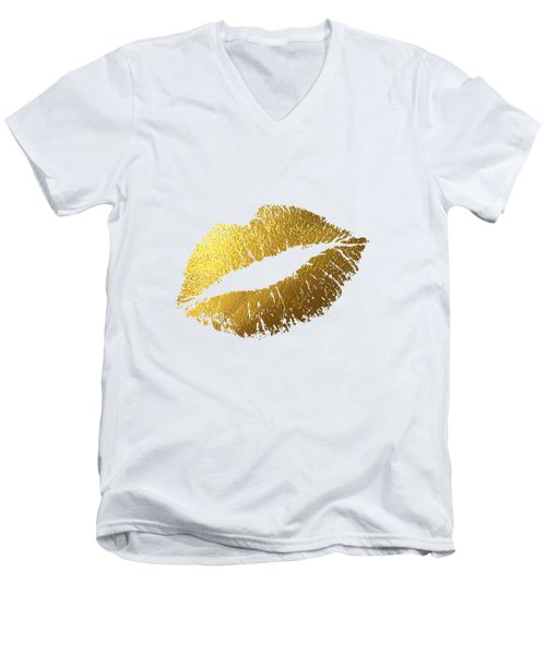 Gold Lips Men's V-Neck T-Shirt by BONB Creative