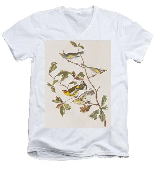 Golden Winged Warbler Or Cape May Warbler Men's V-Neck T-Shirt by John James Audubon