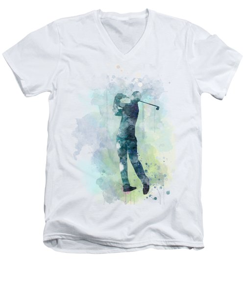 Golf Player  Men's V-Neck T-Shirt by Marlene Watson