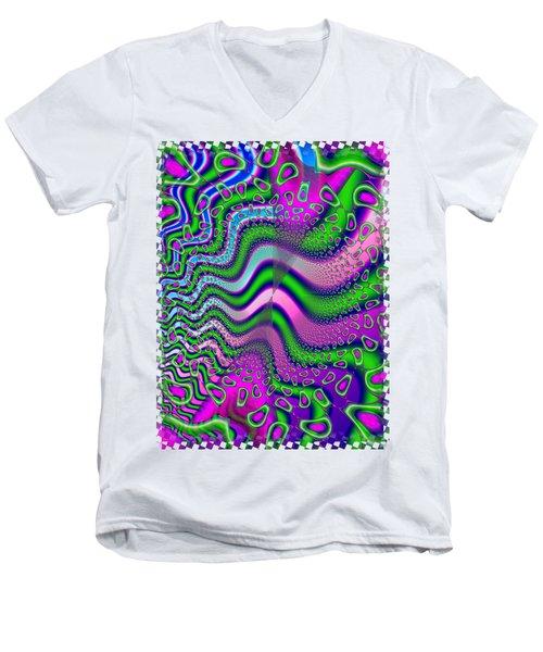 Goose Berries Psychedelic Fractal Men's V-Neck T-Shirt by Sharon and Renee Lozen