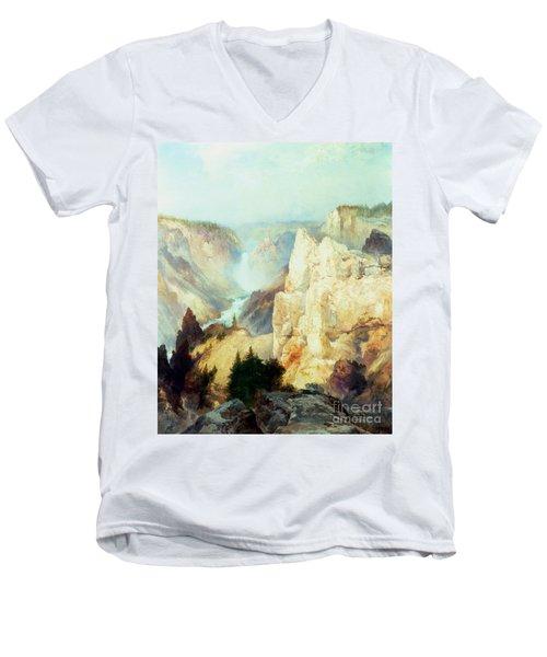 Grand Canyon Of The Yellowstone Park Men's V-Neck T-Shirt by Thomas Moran