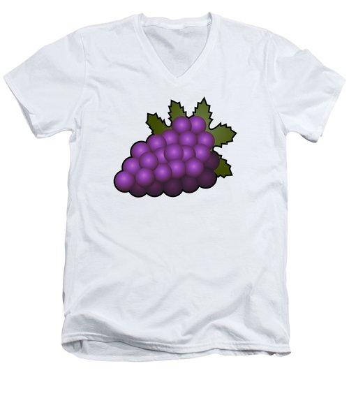 Grapes Fruit Outlined Men's V-Neck T-Shirt by Miroslav Nemecek