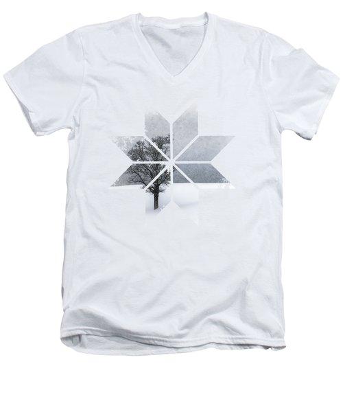 Graphic Art Snowflake Lonely Tree Men's V-Neck T-Shirt by Melanie Viola