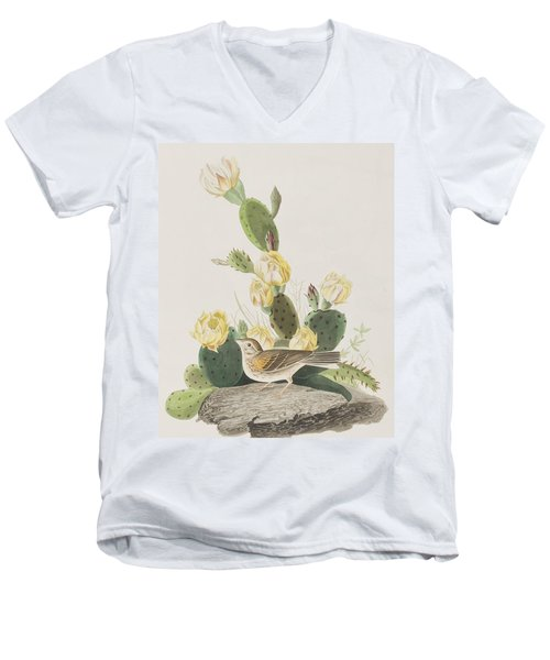 Grass Finch Or Bay Winged Bunting Men's V-Neck T-Shirt by John James Audubon