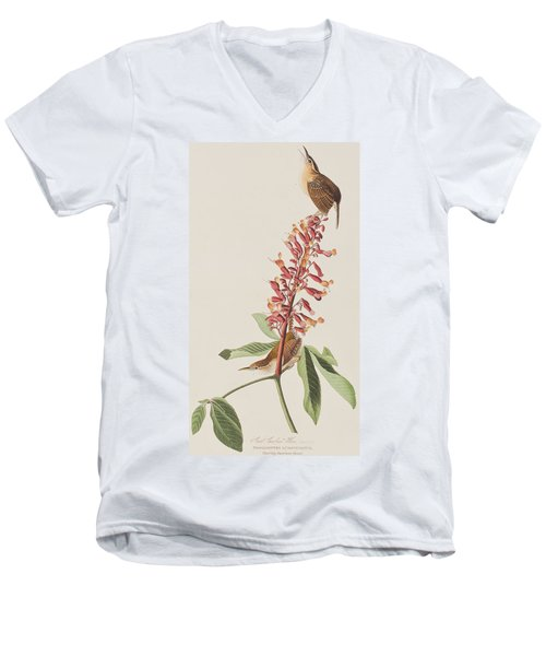 Great Carolina Wren Men's V-Neck T-Shirt by John James Audubon