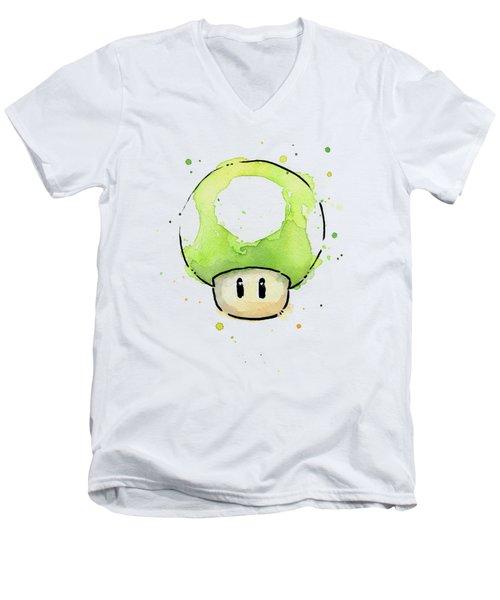 Green 1up Mushroom Men's V-Neck T-Shirt by Olga Shvartsur