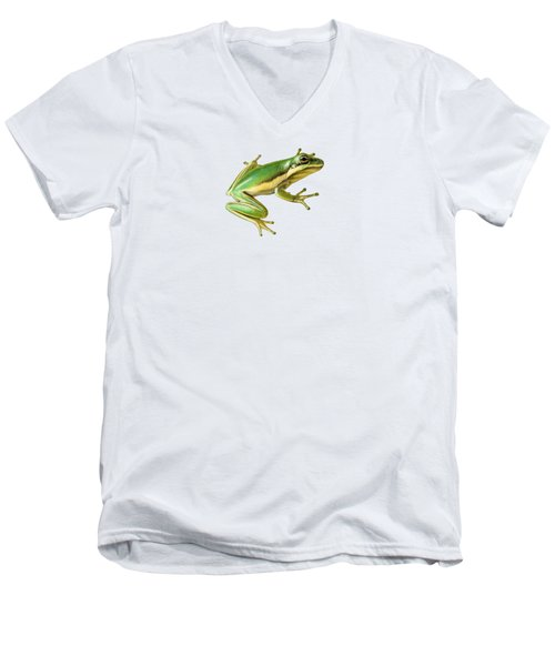 Green Tree Frog Men's V-Neck T-Shirt by Sarah Batalka