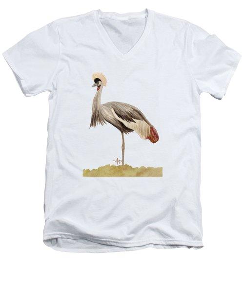 Grey Crowned Crane Men's V-Neck T-Shirt by Angeles M Pomata