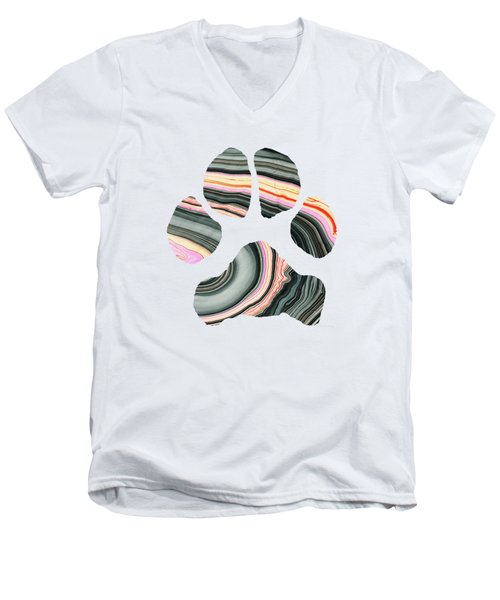 Groovy Dog Paw - Sharon Cummings  Men's V-Neck T-Shirt by Sharon Cummings