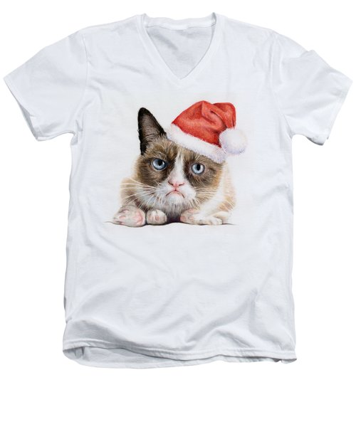 Grumpy Cat As Santa Men's V-Neck T-Shirt by Olga Shvartsur