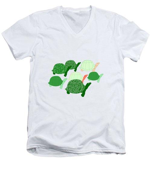 Herd Of Turtles Pattern Men's V-Neck T-Shirt by Methune Hively