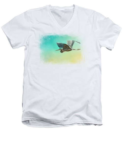 Heron At Sea Men's V-Neck T-Shirt by Jai Johnson