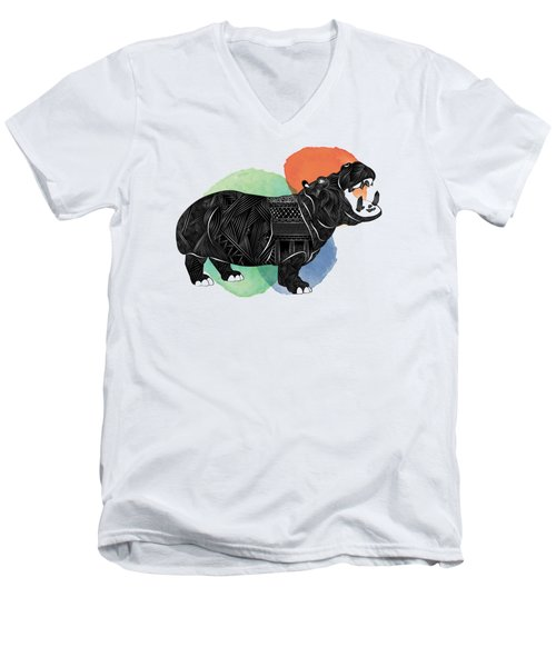 Hippo Men's V-Neck T-Shirt by Serkes Panda