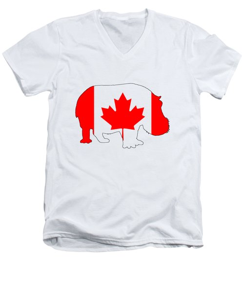 Hippopotamus Canada Men's V-Neck T-Shirt by Mordax Furittus