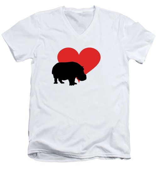 Hippopotamus Men's V-Neck T-Shirt by Mordax Furittus