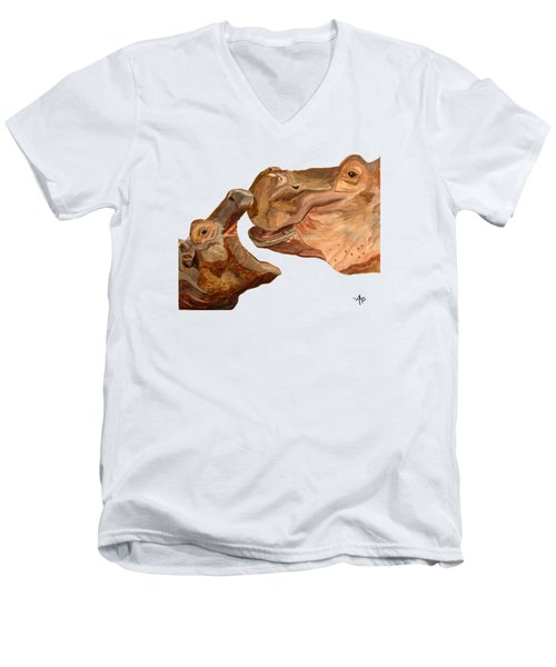 Hippos Men's V-Neck T-Shirt by Angeles M Pomata