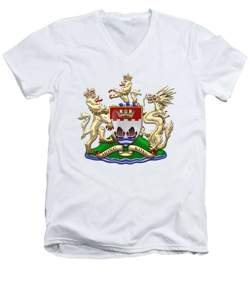 Hong Kong - 1959-1997 Coat Of Arms Over White Leather  Men's V-Neck T-Shirt by Serge Averbukh
