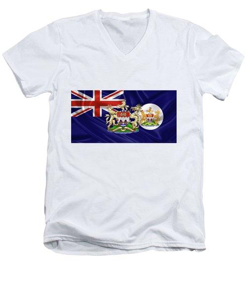 Hong Kong - 1959-1997 Historical Coat Of Arms Over British Hong Kong Flag  Men's V-Neck T-Shirt by Serge Averbukh