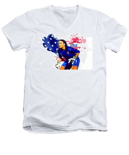 Hope Solo Men's V-Neck T-Shirt by Semih Yurdabak