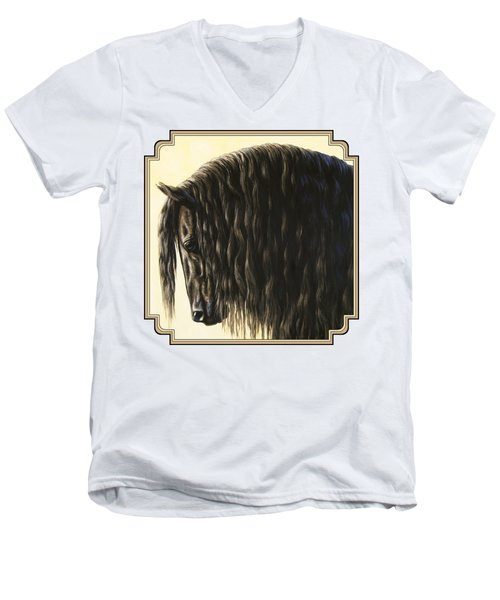 Horse Painting - Friesland Nobility Men's V-Neck T-Shirt by Crista Forest