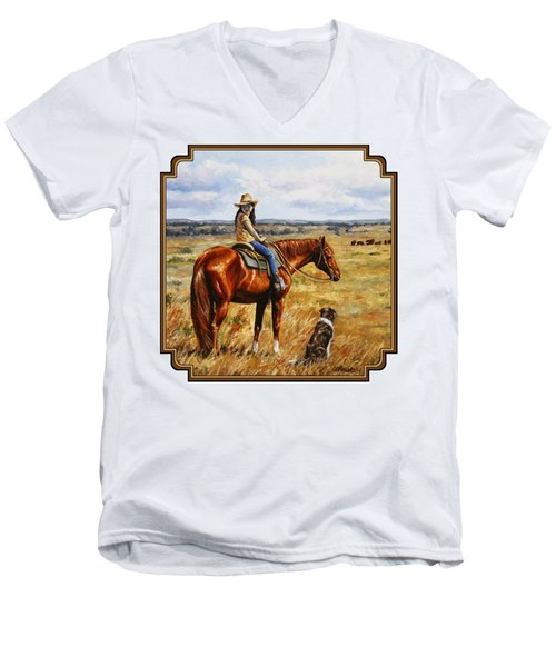 Horse Painting - Waiting For Dad Men's V-Neck T-Shirt by Crista Forest
