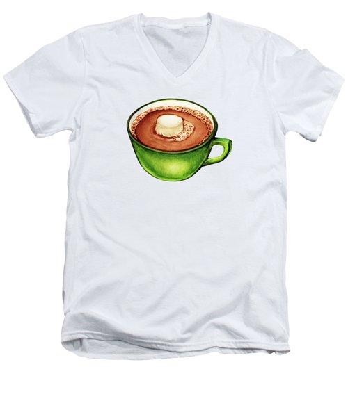 Hot Cocoa Pattern Men's V-Neck T-Shirt by Kelly Gilleran