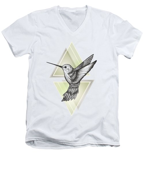 Hummingbird Men's V-Neck T-Shirt by Barlena