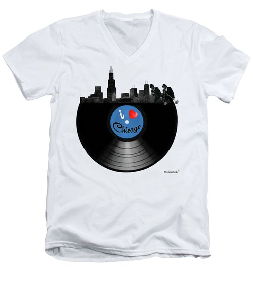 I Love Chicago Men's V-Neck T-Shirt by Glenn Holbrook