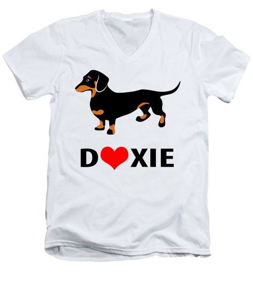 I Love My Doxie Men's V-Neck T-Shirt by Antique Images
