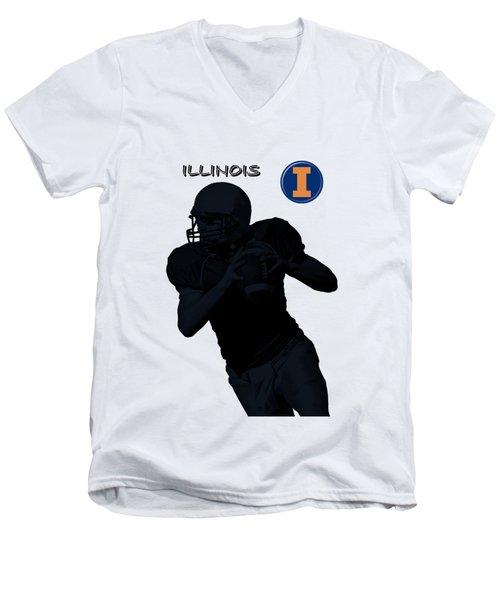Illinois Football Men's V-Neck T-Shirt by David Dehner