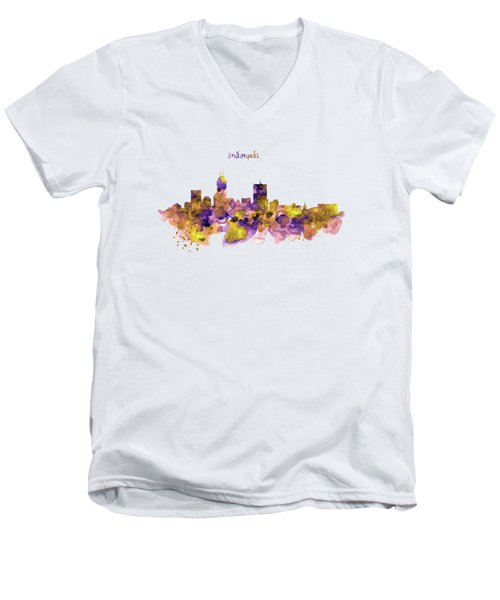 Indianapolis Skyline Silhouette Men's V-Neck T-Shirt by Marian Voicu
