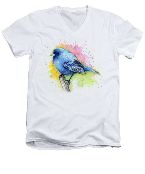 Indigo Bunting Blue Bird Watercolor Men's V-Neck T-Shirt by Olga Shvartsur