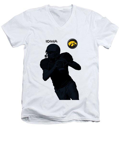 Iowa Football  Men's V-Neck T-Shirt by David Dehner
