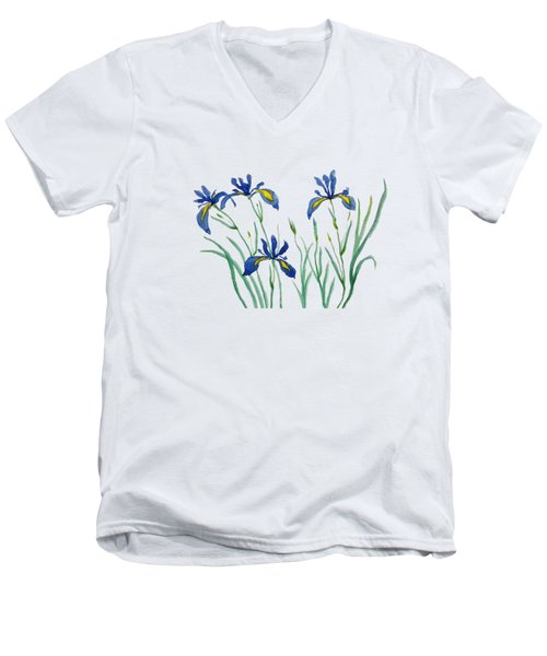 Iris In Japanese Style Men's V-Neck T-Shirt by Color Color