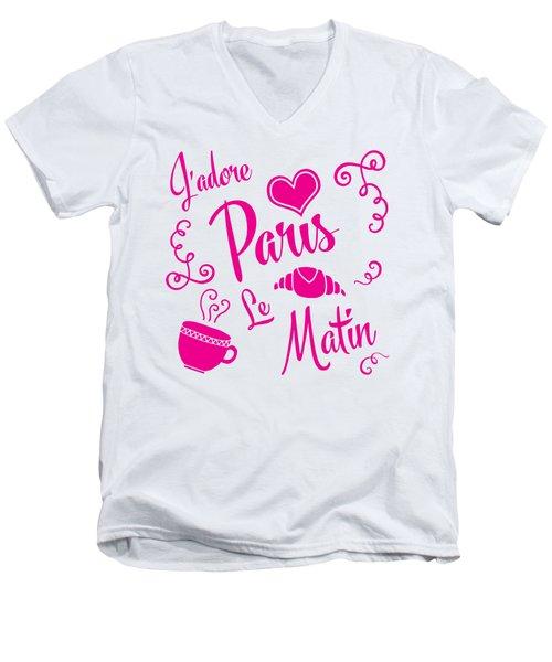 J'adore Paris Le Matin Men's V-Neck T-Shirt by Antique Images