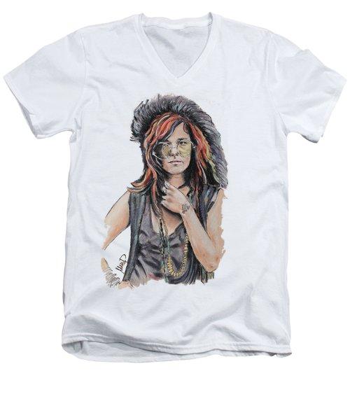 Janis Joplin Men's V-Neck T-Shirt by Melanie D