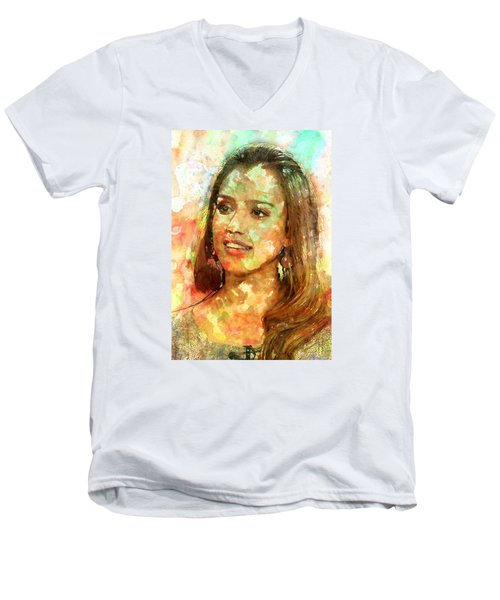 Jessica Alba Men's V-Neck T-Shirt by Elena Kosvincheva
