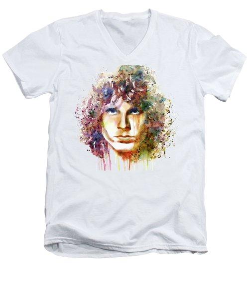Jim Morrison Men's V-Neck T-Shirt by Marian Voicu